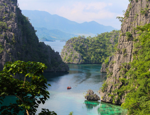Coron, Palawan Philippines. The view from the top of Kayangan Lake; the cleanest lake in the Philippines.