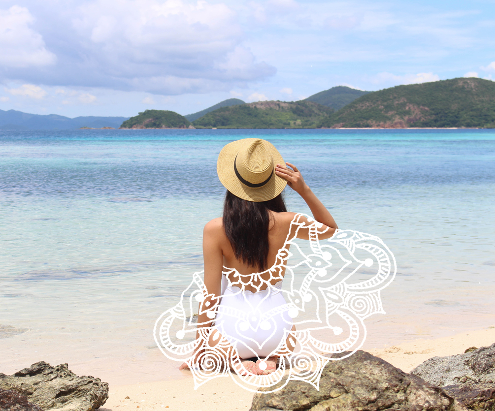 White Wash | cat-elle.com Bulog Beach, Coron, Philippines Mixed Media Photography with Mandela Illustration by Catriona Gray